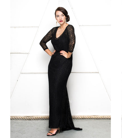 Stretch Lace V Neck Gown - Lala Belle The Label Women's Plus Size Dresses & Clothing Australia