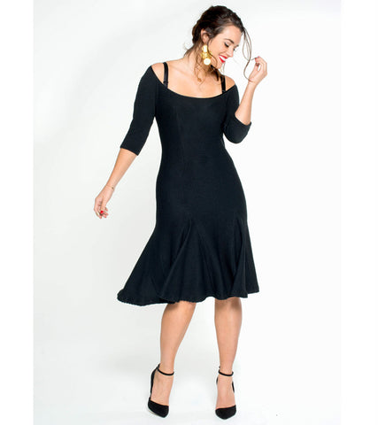Wide Neck Stretch Textured Dress - Lala Belle The Label Women's Plus Size Dresses & Clothing Australia