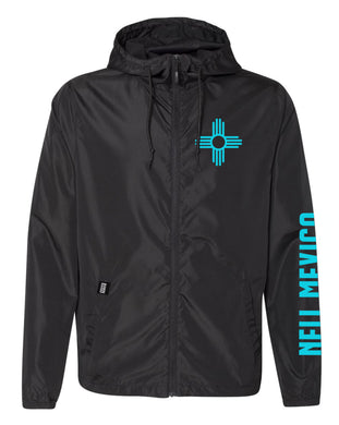 Black/Turquoise-Water Resistant Lightweight Windbreaker