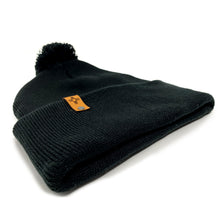 "Load image into Gallery viewer, Black-Pom-Pom 12"" Knit Beanie"