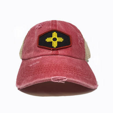 Stain Washed Red Crisscross Ponytail Trucker Cap