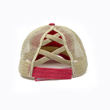 Load image into Gallery viewer, Stain Washed Red Crisscross Ponytail Trucker Cap
