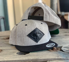 Load image into Gallery viewer, Black Leather Zia Symbol on Grey Snap back