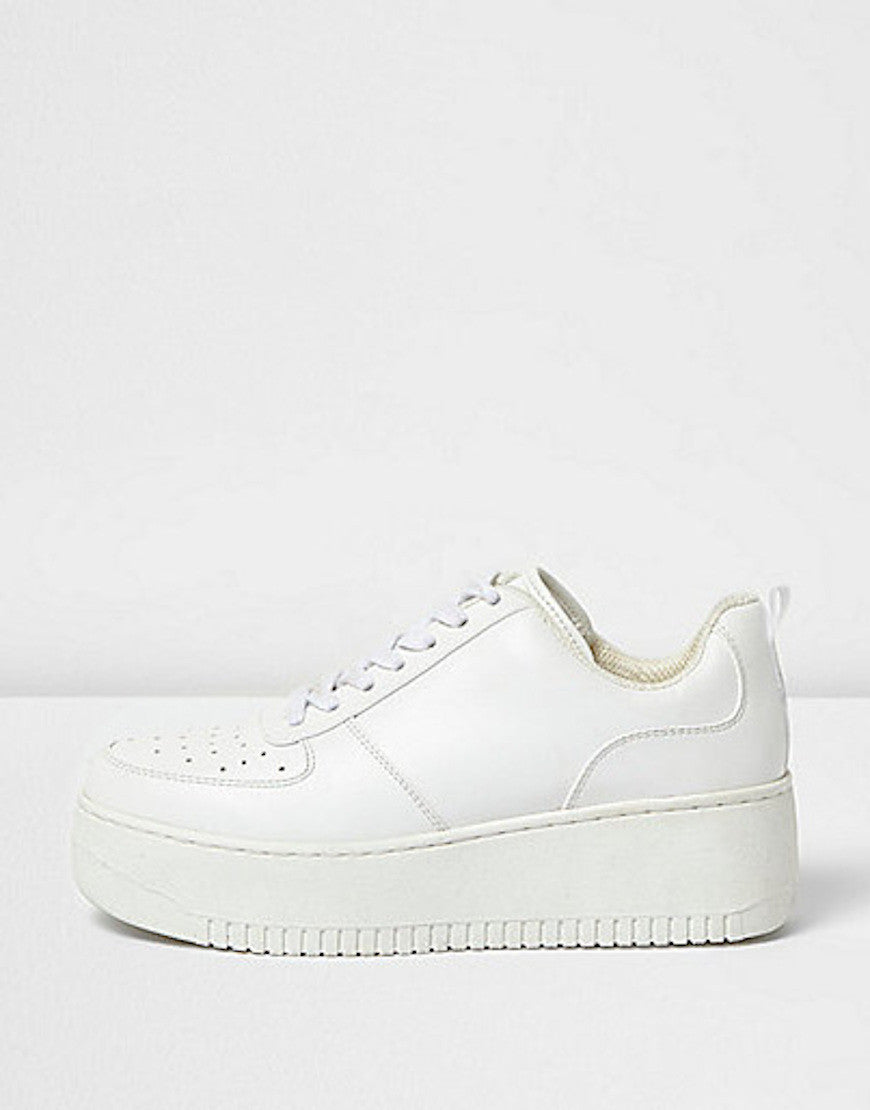 White lace-up platform trainers