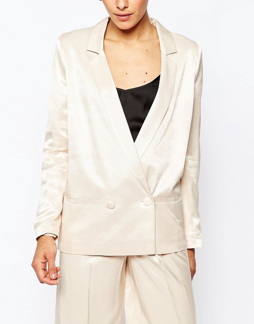 SATIN DOUBLE BREASTED SUIT JACKET OPEN