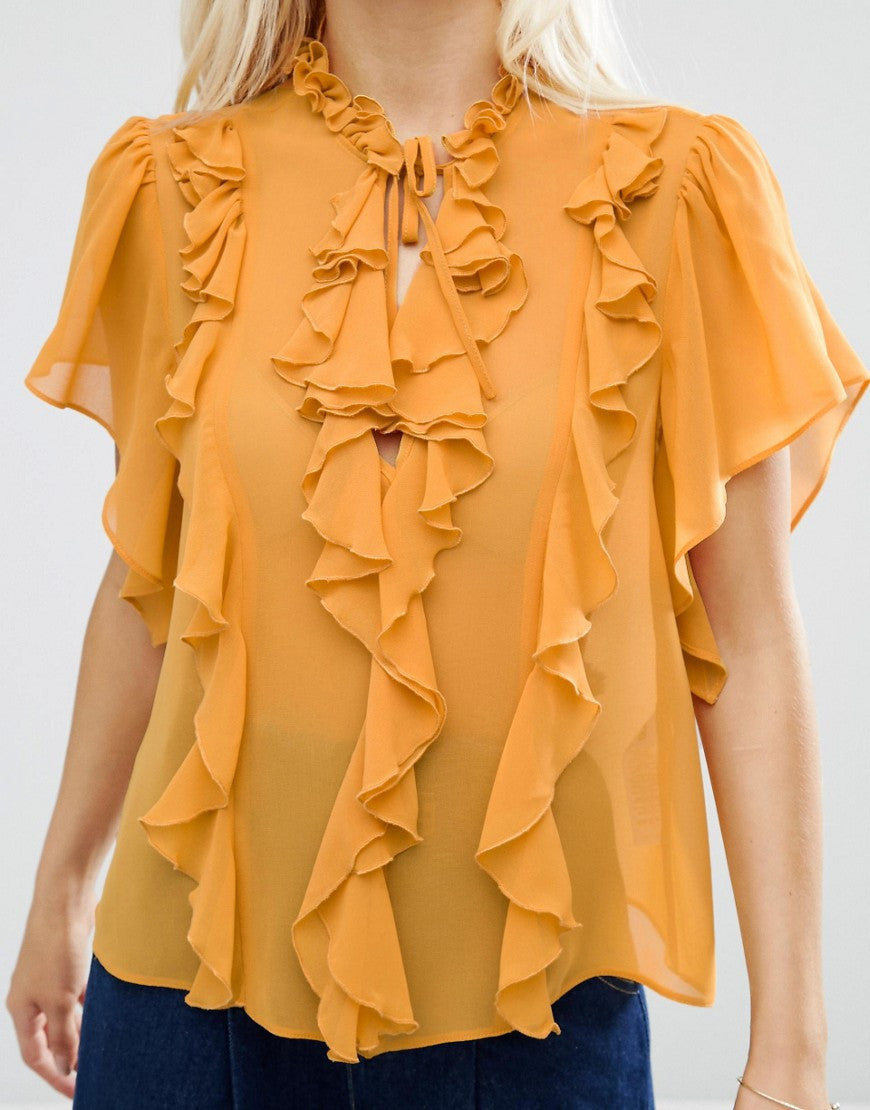 RUFFLE BLOUSE WITH SHORT SLEEVE & TIE TUCKED