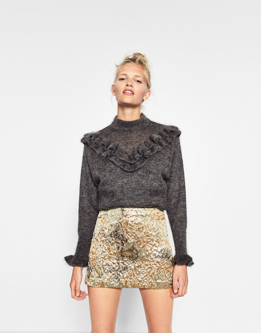 GOLD JACQUARD MINI SKIRT
