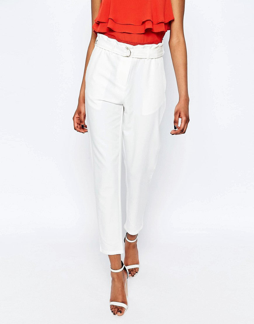 TROUSERS WITH GATHERED TIE WAIST