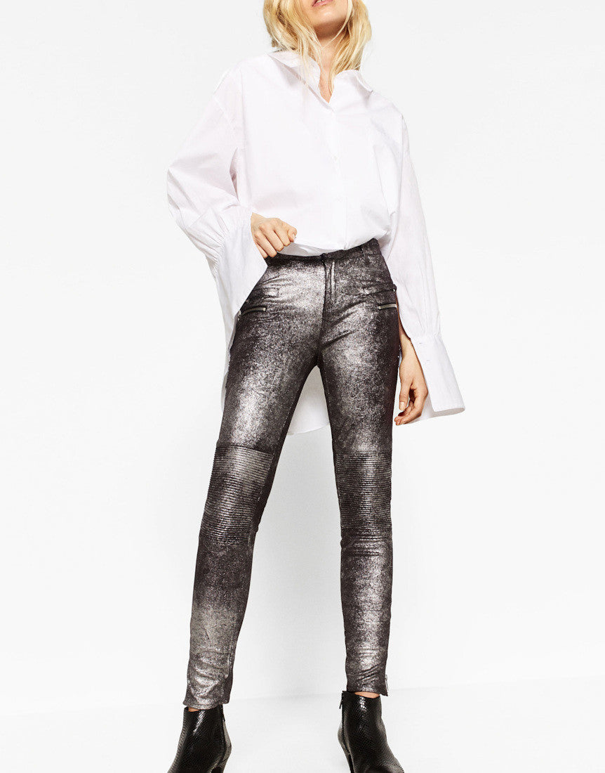 METALLIC BIKER TROUSERS
