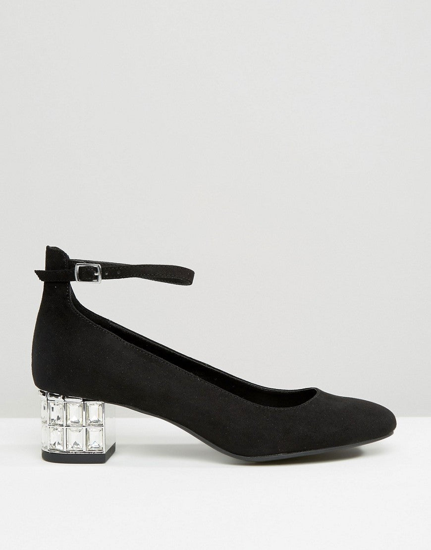 EMBELLISHED BLOCK HEELED SHOE