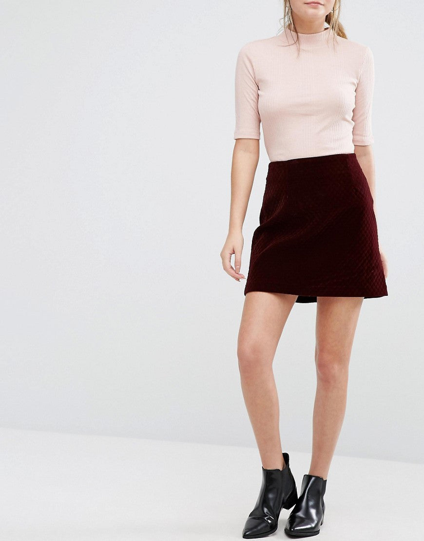 QUILTED VELVET A-LINE MINI SKIRT