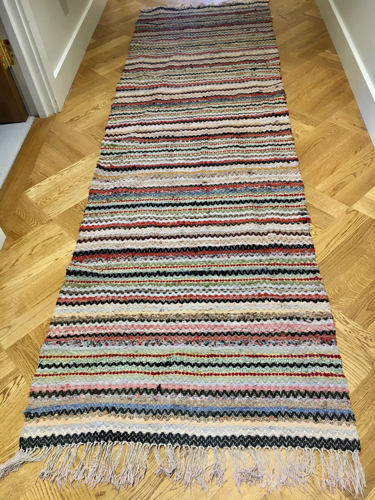 machine washable vintage swedish trasmatta rug runner hall carpet entry way mat striped