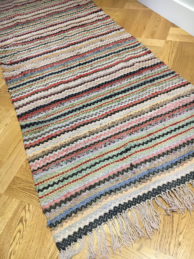 reversible zig zag vintage swedish trasmatta rug runner hall carpet entry way mat striped
