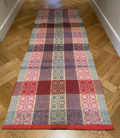 red pink yellow blue purple rag rug floor runner rips rug vintage