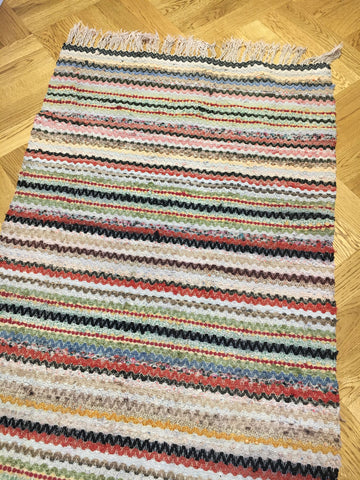 vintage swedish trasmatta rug runner hall carpet entry way mat striped  by Rebecca's Aix Home