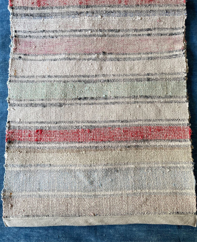pale striped pink red blue floor runner vintage Hungarian cotton rag rug