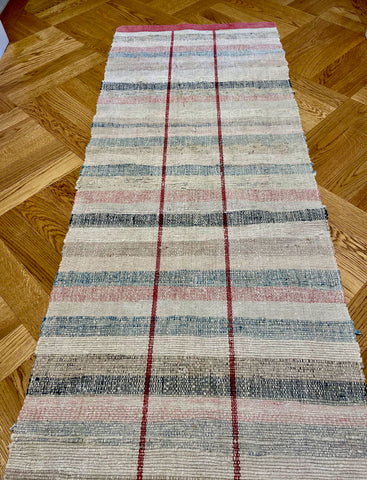 striped vintage hungarian rag runner rug washable pale colours long Rebecca's Aix Home