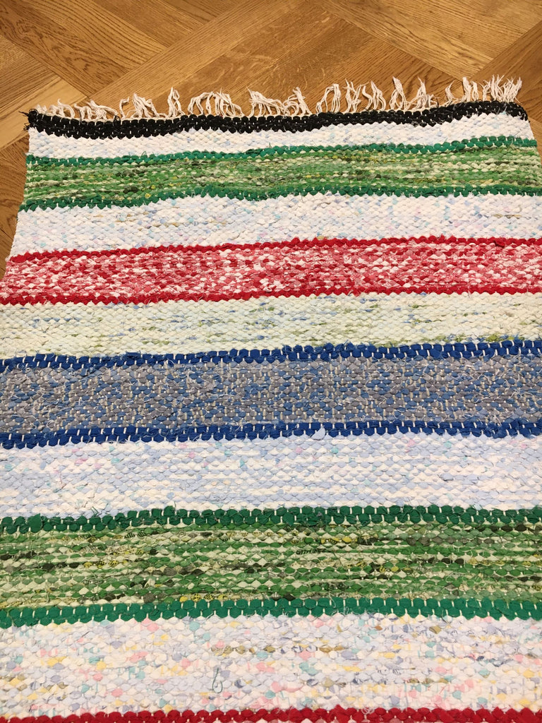 vintage swedish rug  playroom green red and blue striped rag rug kitchen mat bath mat aga carpet