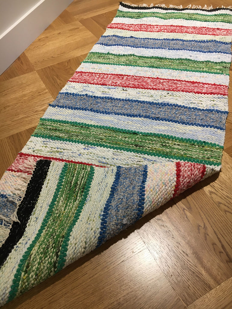 reversible green red and blue striped rag rug kitchen mat bath mat aga carpet by Rebecca's Aix Home