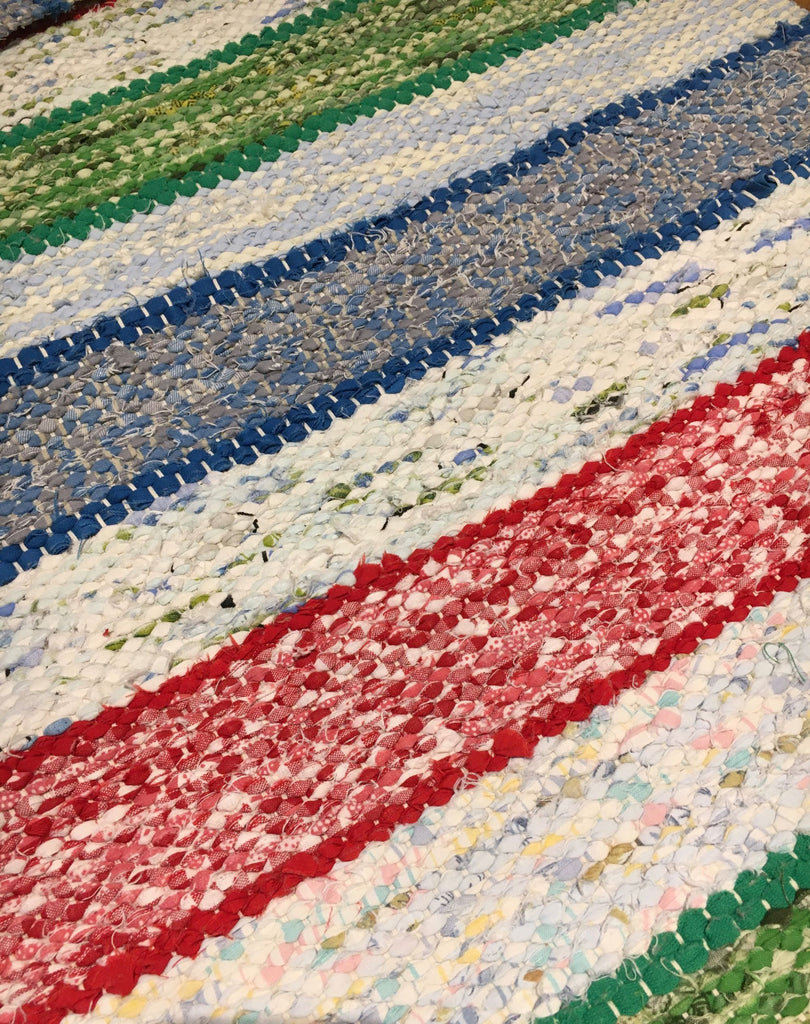 cotton trasmatta swedish vintage green red and blue striped rag rug kitchen mat bath mat aga carpet