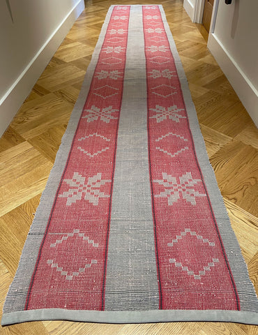 red grey dark slate long floor runner vintage trasmatta rug hall mat corridor carpet