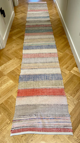 striped floor runner vintage hungarian trasmatta rug carpet red blue grey pink stripes cotton