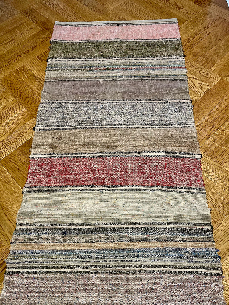 striped floor runner vintage hungarian trasmatta rug carpet red blue grey pink stripes reversible
