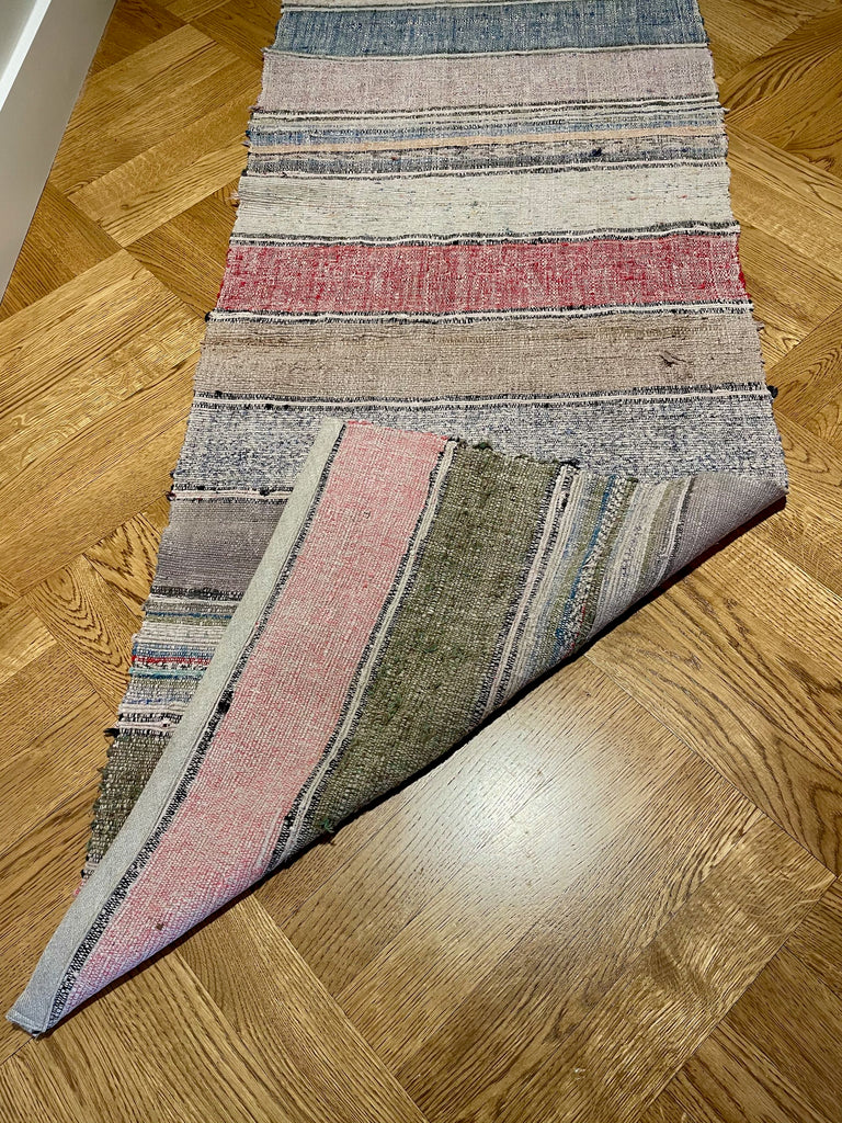 striped floor runner vintage hungarian trasmatta rug carpet red blue grey pink stripes hall carpet