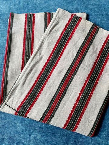 red grey white stripe woven hand loomed hemp rustic fabric upholstery material