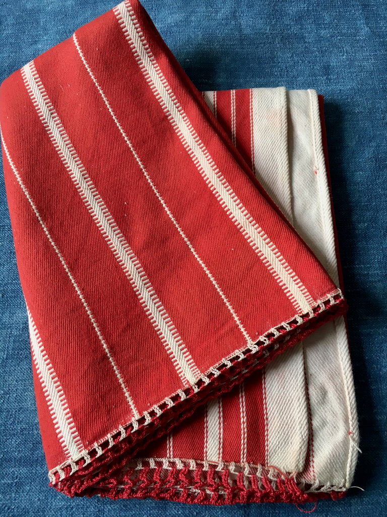 red white striped pillow cushion cover floor mat bath mat hand loomed vintage textiles