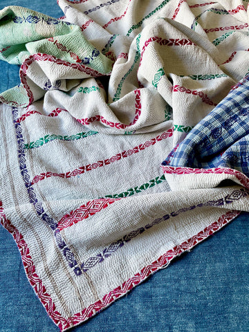 white kantha quilt throw embroidered pink green purple bedspread picnic blanket machine washable