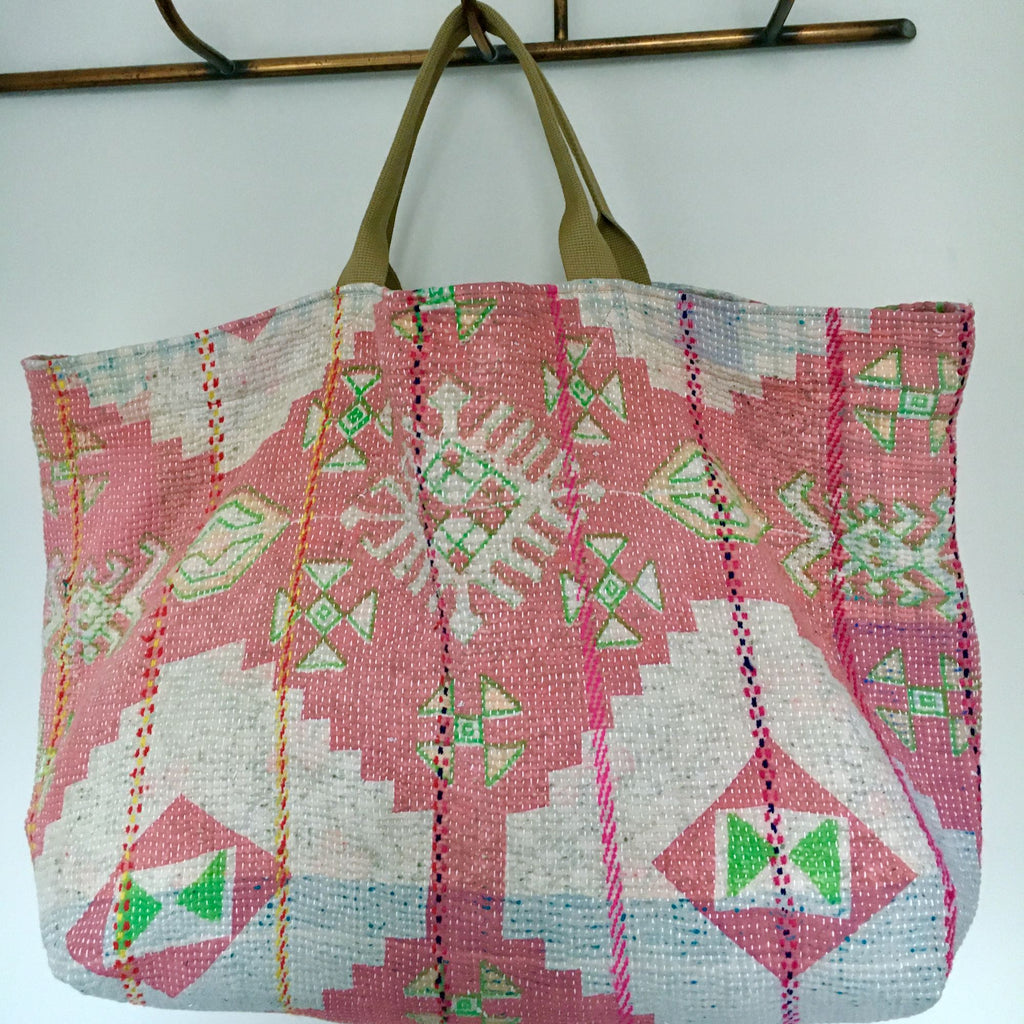 pink green patterned cotton tote beach bag large kantha market bag Rebecca's Aix Home