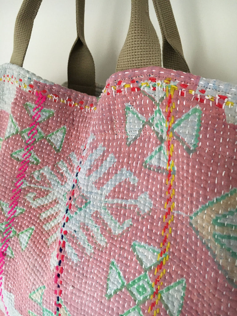 pink green patterned cotton tote beach bag large kantha market bag unique