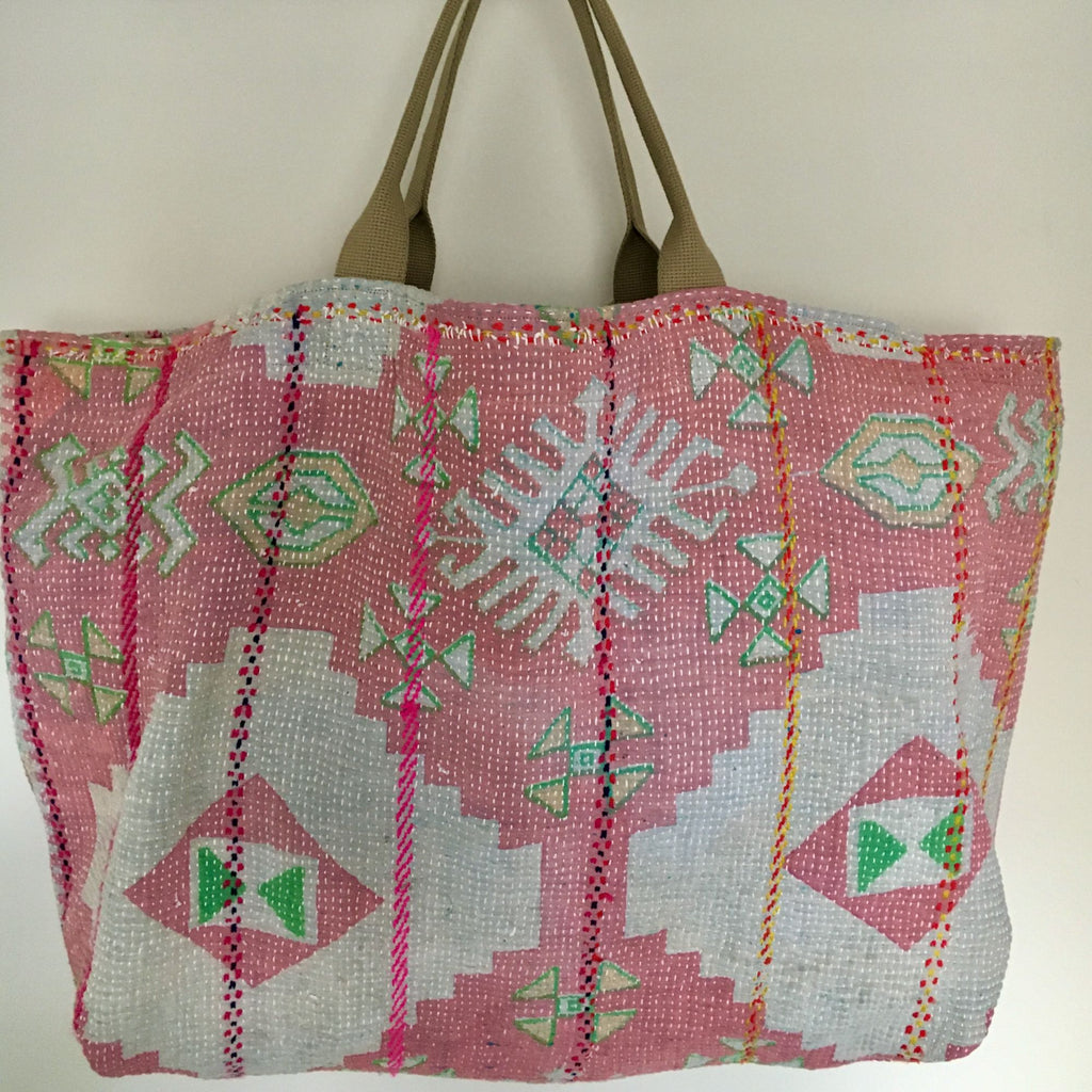 handmade Uk pink green patterned cotton tote beach bag large kantha market bag