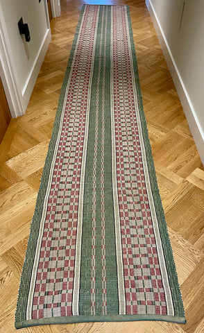 green grey burgundy long rips runner floor corridor hall carpet mat vintage textiles