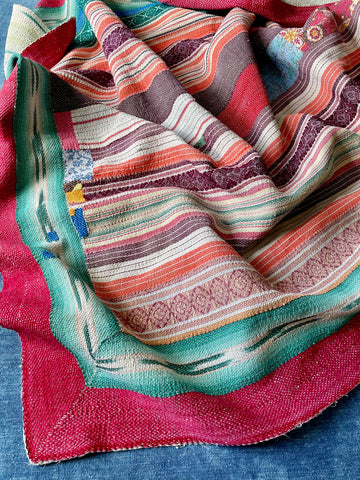 pink green apricot peach purple indian kantha quilt patchwork throw bedcover