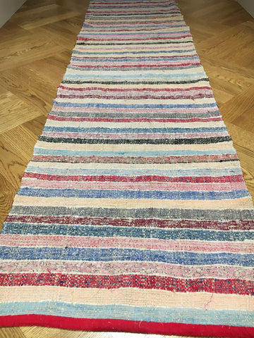 pink blue red striped hungarian floor runner striped rug entry way mat vintage washable lirette