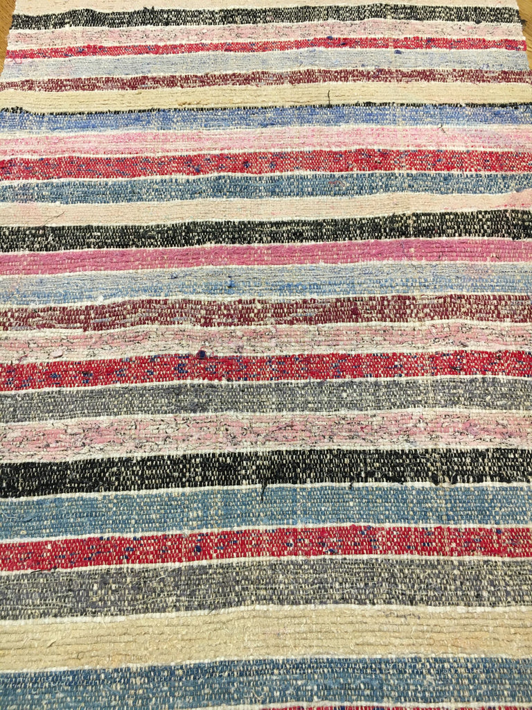 pink blue red striped hungarian floor runner striped rug entry way mat vintage trasmatta lirette
