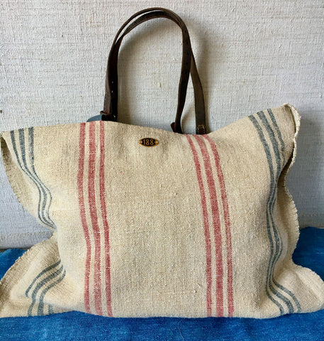 striped market tote bag hemp grainsack fabric leather handles beach bag