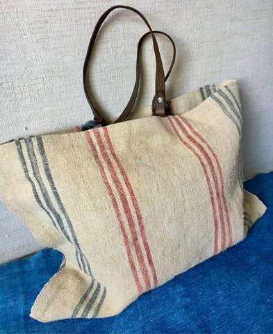 striped blue grey red grain sack tote market bag shopper leather handles lined vintage textiles