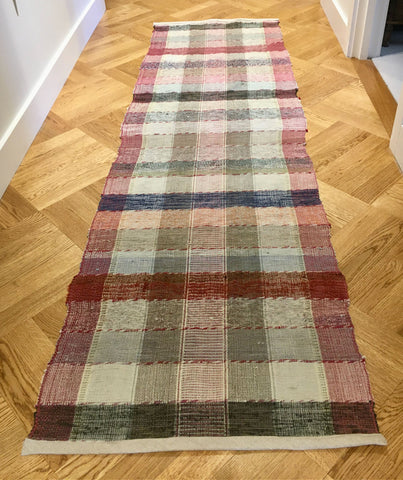 dark red claret navy grey check rips rug hungarian runner 2.36 m long for hall