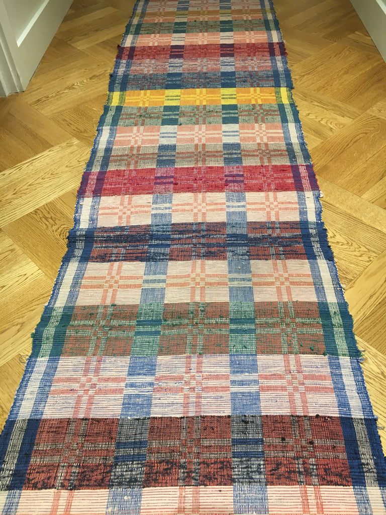 entry way mat rips rug vintage hungarian blue pink red yellow long hall carpet rug
