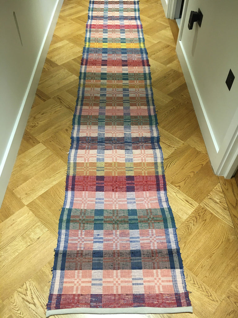 rips rug vintage hungarian blue pink red yellow long hall carpet rug Rebecca's Aix Home