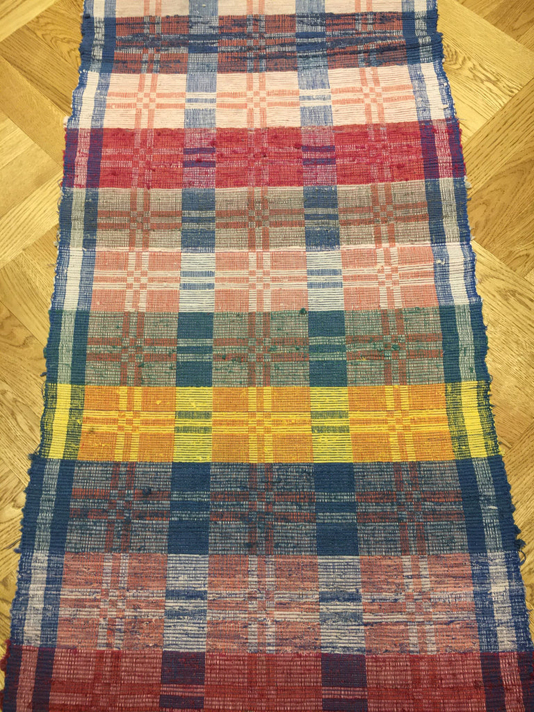 reversible rips rug vintage hungarian blue pink red yellow long hall carpet rug corridor
