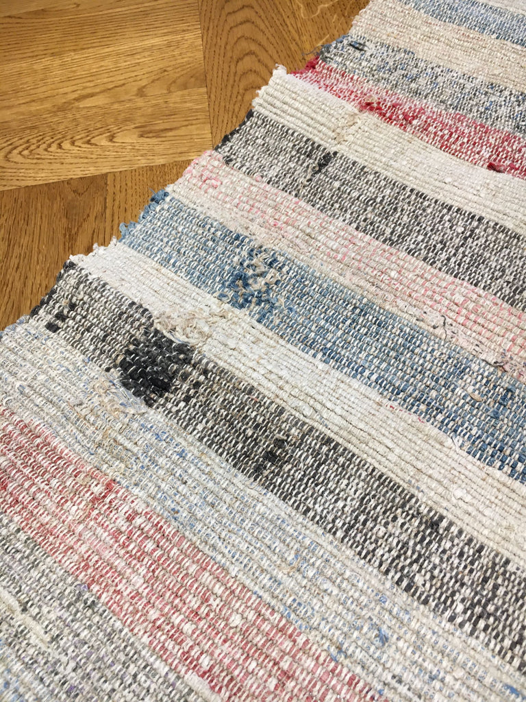 rustic floor mat rug runner hungarian rips cotton striped pastel reversible vintage