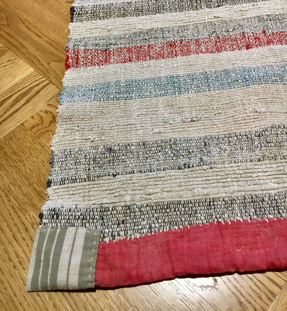 rustic floor mat rug runner hungarian rips cotton striped pastel Rebecca's Aix Home  washable