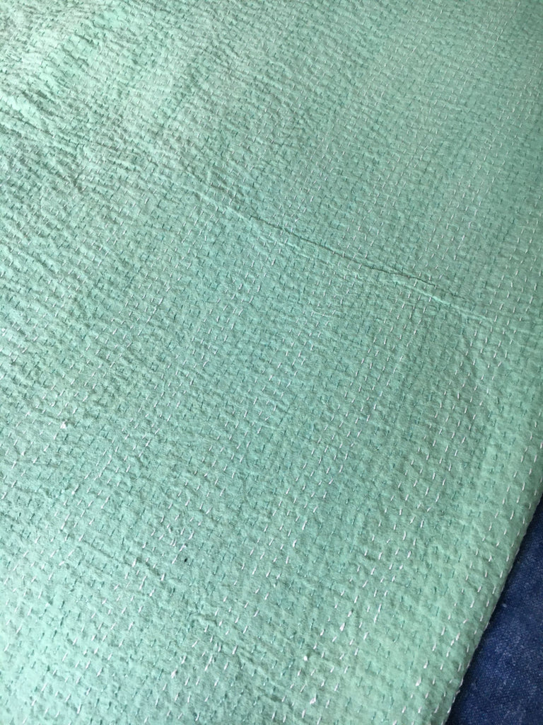 peppermint green aqua bedspread bedcover kantha quilt doona comforter cotton  washable reversible