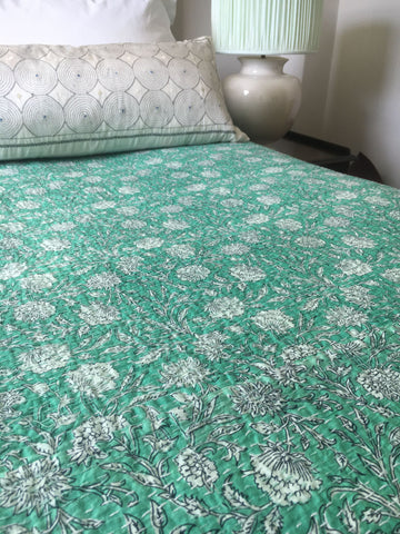 peppermint green aqua bedspread bedcover kantha quilt doona comforter cotton machine washable
