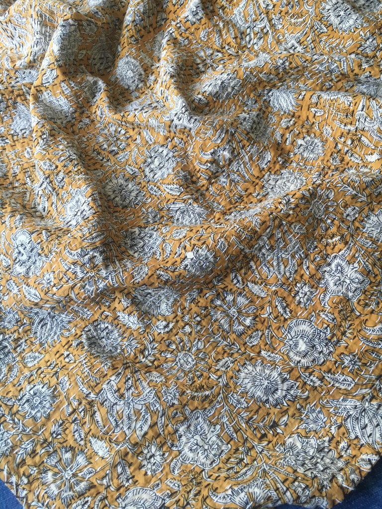 mustard yellow dijon deep golden bedspread kantha bedcover quilt comforter machine washable