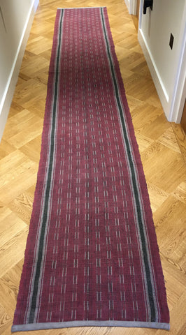 long vintage hungarian rips rug runner floor hall carpet dark red black grey corridor mat